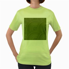 Circular Brushed Metal Bump Grey Women s Green T Shirt