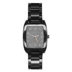 Circular Brushed Metal Bump Grey Stainless Steel Barrel Watch