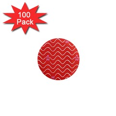 Springtime Wave Red Floral Flower 1  Mini Magnets (100 pack)