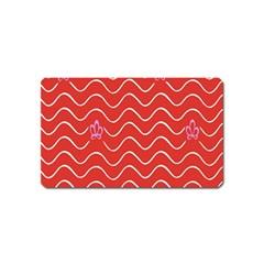Springtime Wave Red Floral Flower Magnet (Name Card)