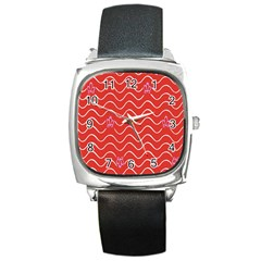 Springtime Wave Red Floral Flower Square Metal Watch