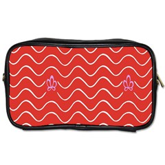 Springtime Wave Red Floral Flower Toiletries Bags 2-Side