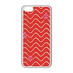 Springtime Wave Red Floral Flower Apple iPhone 5C Seamless Case (White)