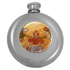 Gold Jesus Round Hip Flask (5 oz)