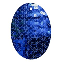 Blue Sequins Ornament (Oval)