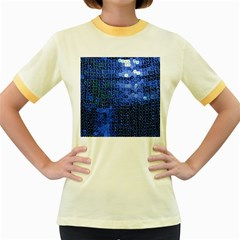 Blue Sequins Women s Fitted Ringer T-Shirts