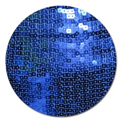 Blue Sequins Magnet 5  (Round)