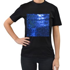 Blue Sequins Women s T-Shirt (Black) (Two Sided)
