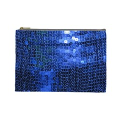 Blue Sequins Cosmetic Bag (Large)