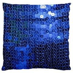 Blue Sequins Large Cushion Case (One Side)