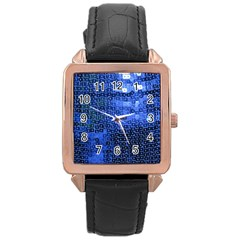 Blue Sequins Rose Gold Leather Watch