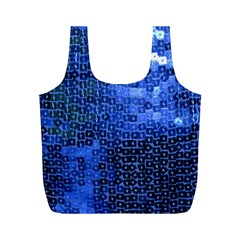 Blue Sequins Full Print Recycle Bags (M)