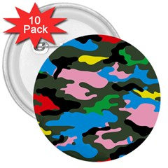 Rainbow Camouflage 3  Buttons (10 pack)