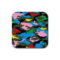 Rainbow Camouflage Rubber Square Coaster (4 pack)