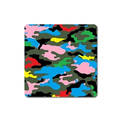 Rainbow Camouflage Square Magnet