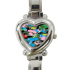 Rainbow Camouflage Heart Italian Charm Watch