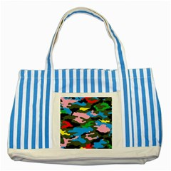 Rainbow Camouflage Striped Blue Tote Bag