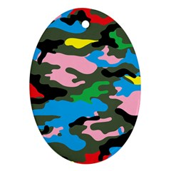 Rainbow Camouflage Oval Ornament (Two Sides)