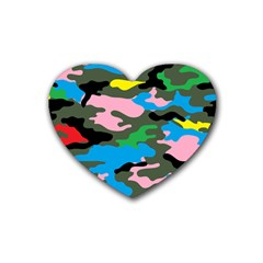 Rainbow Camouflage Rubber Coaster (Heart)