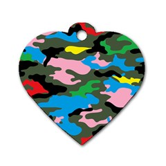 Rainbow Camouflage Dog Tag Heart (One Side)