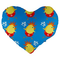 Easter Chick Large 19  Premium Flano Heart Shape Cushions