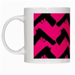 Pink Gun White Mugs