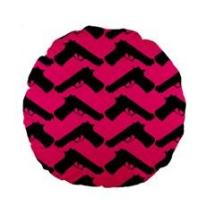Pink Gun Standard 15  Premium Round Cushions
