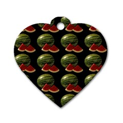 Black Watermelon Dog Tag Heart (Two Sides)
