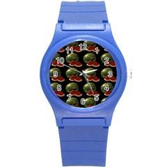 Black Watermelon Round Plastic Sport Watch (S)