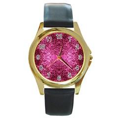 Pink Glitter Round Gold Metal Watch