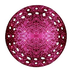 Pink Glitter Ornament (Round Filigree)