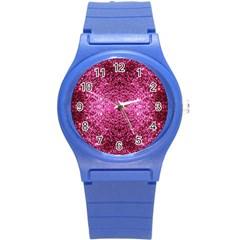 Pink Glitter Round Plastic Sport Watch (S)