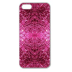 Pink Glitter Apple Seamless iPhone 5 Case (Clear)