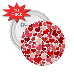 Red Hearts 2.25  Buttons (10 pack)