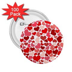 Red Hearts 2.25  Buttons (100 pack)