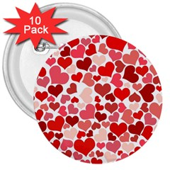 Red Hearts 3  Buttons (10 pack)