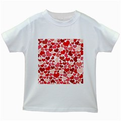 Red Hearts Kids White T-Shirts