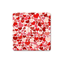 Red Hearts Square Magnet
