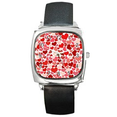 Red Hearts Square Metal Watch