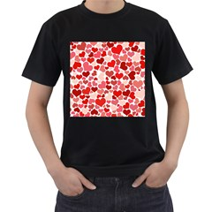 Red Hearts Men s T-Shirt (Black) (Two Sided)