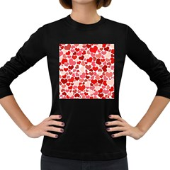 Red Hearts Women s Long Sleeve Dark T-Shirts
