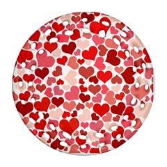 Red Hearts Round Filigree Ornament (Two Sides)
