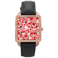 Red Hearts Rose Gold Leather Watch