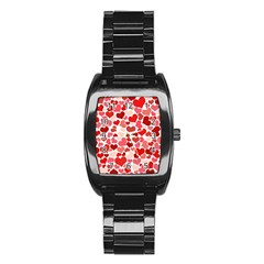 Red Hearts Stainless Steel Barrel Watch