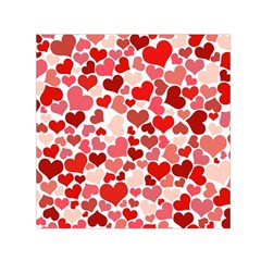 Red Hearts Small Satin Scarf (Square)