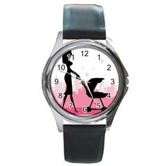 Milf Round Metal Watch