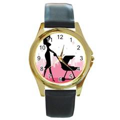 Milf Round Gold Metal Watch