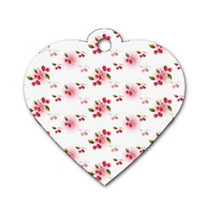 Vintage Cherry Dog Tag Heart (One Side)