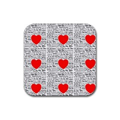 I Love You Rubber Square Coaster (4 pack)
