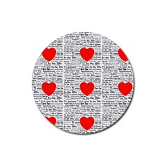 I Love You Rubber Round Coaster (4 pack)